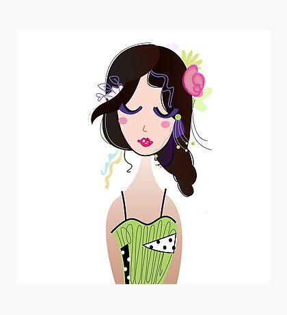 Fashion Vintage Girl in Green Dress Illustration Art ( Luxury Green Edition ) Photographic Print