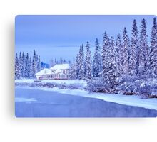 Winter Home On Alaska River Canvas Print