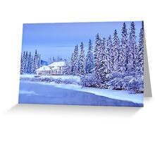Winter Home On Alaska River Greeting Card