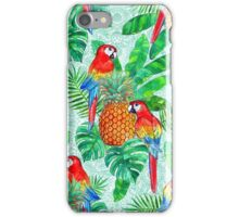 Pineapples and Parrots Tropical Summer Pattern iPhone Case/Skin