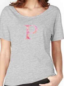 Pink Rho Watercolor Letter Women's Relaxed Fit T-Shirt