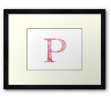 Pink Rho Watercolor Letter Framed Print