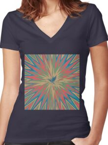 Retro star abstract design Women's Fitted V-Neck T-Shirt