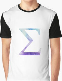 Blue Sigma Watercolor Letter Graphic T-Shirt