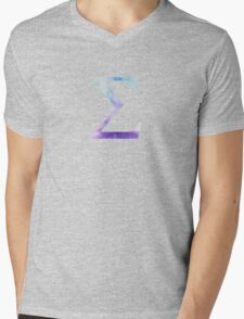 Blue Sigma Watercolor Letter Mens V-Neck T-Shirt
