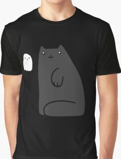Black Cat and Tiny Ghost Graphic T-Shirt