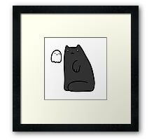 Black Cat and Tiny Ghost Framed Print