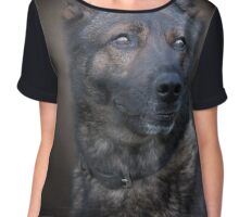 German Shepherd dog portrait Chiffon Top