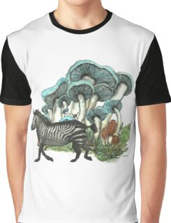 Dancing Zebra Losts in Blue Dizzy Fungi Forest Graphic T-Shirt