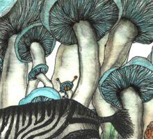 Dancing Zebra Losts in Blue Dizzy Fungi Forest Sticker