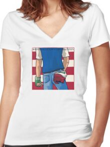 Born in Pallet Town Women's Fitted V-Neck T-Shirt