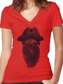 Capt. Blackbone the pugrate Women's Fitted V-Neck T-Shirt