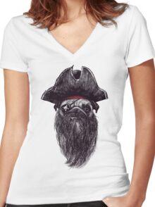 Capt. Blackbone the pugrate Women's Fitted V-Neck T-Shirt