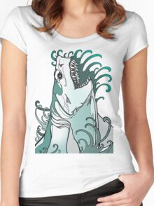 megalodon, great white, shark attack Women's Fitted Scoop T-Shirt