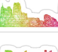 Rainbow Detroit skyline Sticker