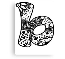 "Hipster Letter ""B"" Zentangle Canvas Print"
