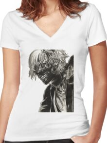 Kaneki Ken Women's Fitted V-Neck T-Shirt