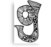 "Hipster Letter ""G"" Zentangle Canvas Print"