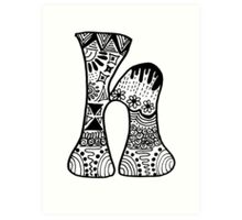 "Hipster Letter ""H"" Zentangle Art Print"
