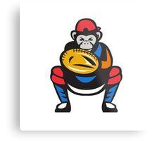 Chimpanzee Baseball Catcher Retro Metal Print