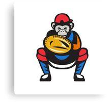 Chimpanzee Baseball Catcher Retro Canvas Print