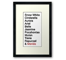Princess Names  Framed Print