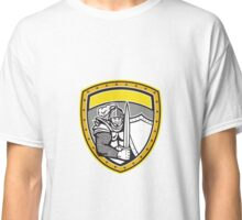 Knight Full Armor Open Visor Sword Shield Crest Retro Classic T-Shirt
