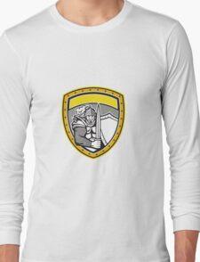 Knight Full Armor Open Visor Sword Shield Crest Retro Long Sleeve T-Shirt
