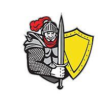 Knight Full Armor Open Visor Sword Shield Retro Photographic Print