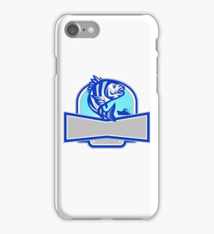 Sheepshead Fish Jumping Fishing Boat Banner Retro iPhone Case/Skin