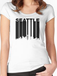 Retro Seattle Cityscape Women's Fitted Scoop T-Shirt