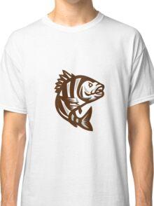 Sheepshead Fish Jumping Isolated Retro Classic T-Shirt