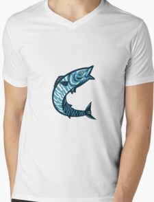 Wahoo Fish Jumping Isolated Retro Mens V-Neck T-Shirt