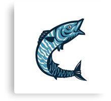 Wahoo Fish Jumping Isolated Retro Canvas Print