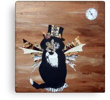 Abstract Cat Art STEAMPUNK SEBASTIAN mixed media collage painting Canvas Print