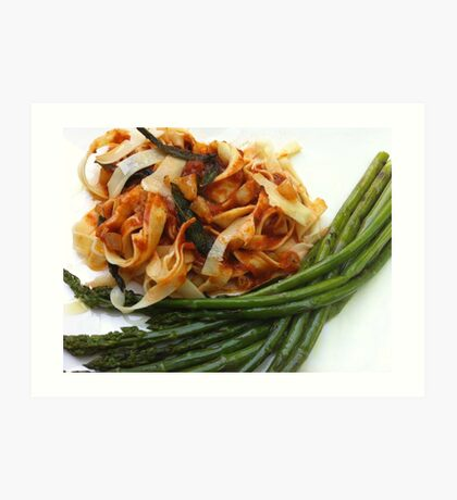 Handmade Pasta snuggles with Asparagus Art Print