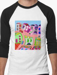 Happy Town by Roger Pickar, Goofy America Men's Baseball ¾ T-Shirt