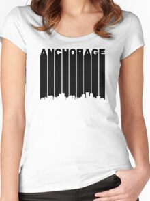 Retro Anchorage Cityscape Women's Fitted Scoop T-Shirt