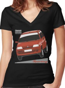 Fiat Cinquecento Sporting red Women's Fitted V-Neck T-Shirt