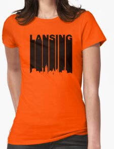Retro Lansing Cityscape Womens Fitted T-Shirt