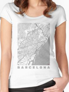 Barcelona Map Line Women's Fitted Scoop T-Shirt