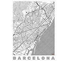 Barcelona Map Line Photographic Print