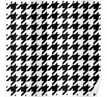 Classic Black and White Houndstooth Pattern Poster