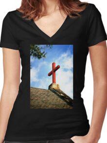 Cross Church Roof Women's Fitted V-Neck T-Shirt