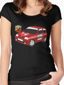 Fiat Cinquecento Abarth red Women's Fitted Scoop T-Shirt