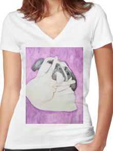 Peace Out Pug  Women's Fitted V-Neck T-Shirt