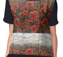 Red Poppy Field Chiffon Top