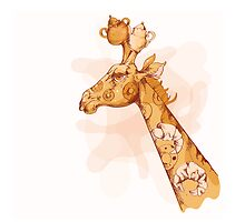 Vector croissant giraffe with cups and mugs by Maryna  Rudzko