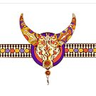 Tribal taurus decorative vector background by Maryna  Rudzko