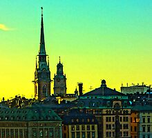 Gamla Stan Summer sunset by Tim Constable by Tim Constable